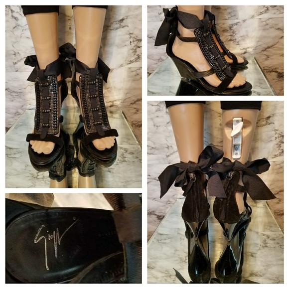 b8607adea7c Giuseppe Zanotti Shoes -  1200 GIUSEPPE ZANOTTI Chained Beaded Wedges